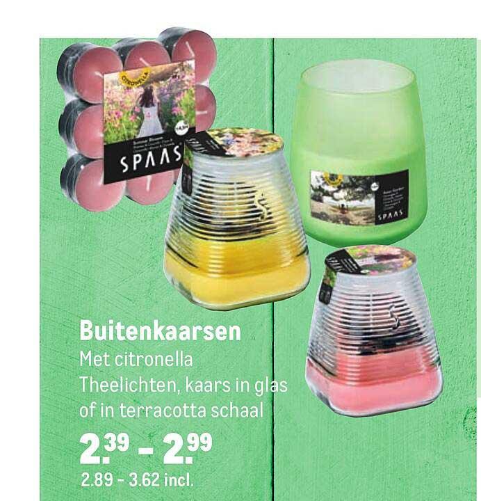 Makro Buitenkaarsen Met Citronella Theelichten, Kaars In Glas Of In Terracotta Schaal