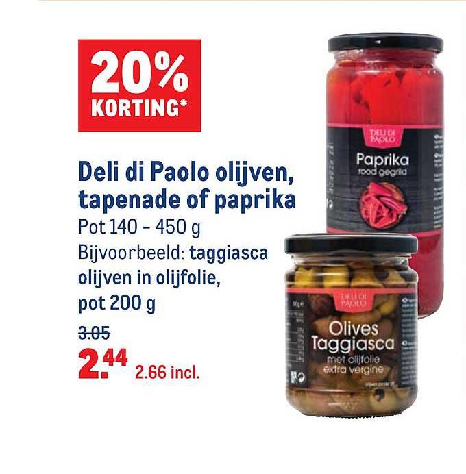 Makro Deli Di Paolo Olijven, Tapenade Of Paprika 20% Korting