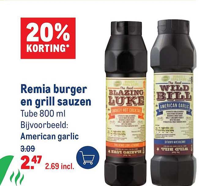 Makro Remia Burger En Grill Sauzen 20% Korting