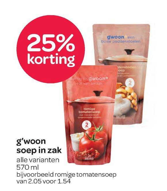 Spar G'woon Soep In Zak 25% Korting