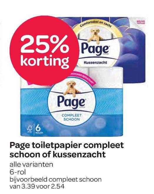 Spar Page Toiletpapier Compleet Schoon Of Kussenzaht 25% Korting
