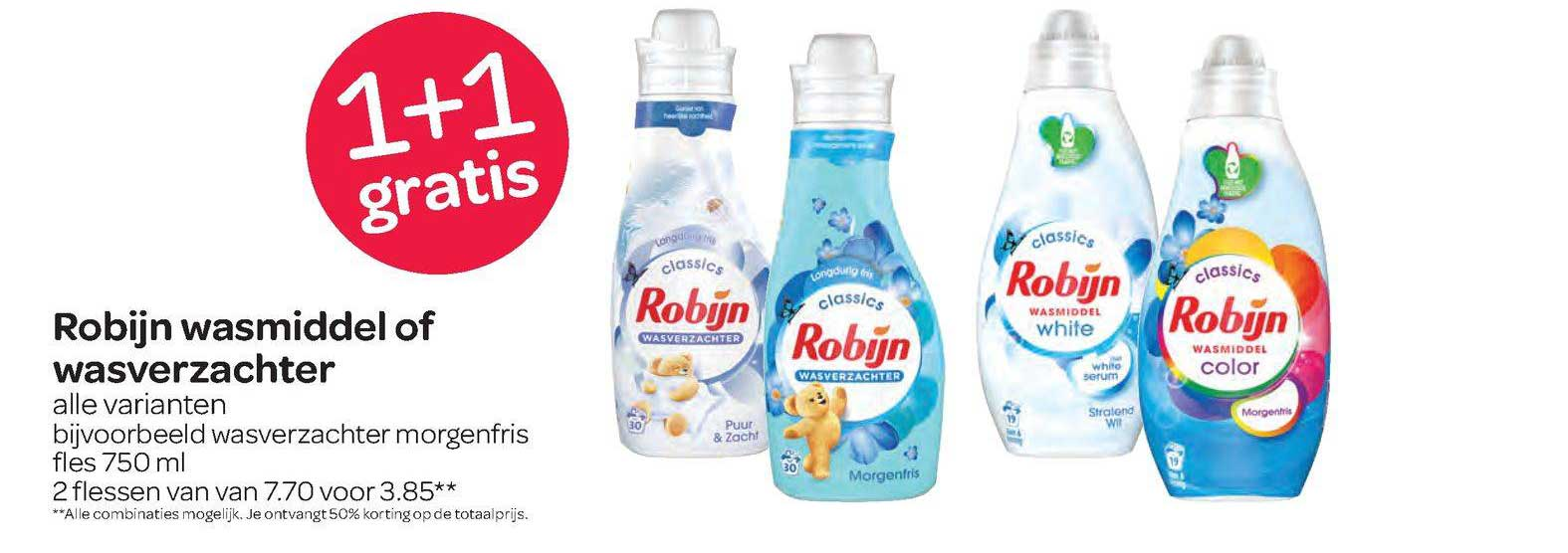 Spar Robijn Wasmiddel Of Wasverzachter 1+1 Gratis