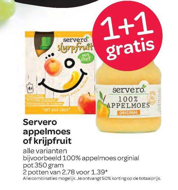 Spar Servero Appelmoes Of Krijpfruit 1+1 Gratis
