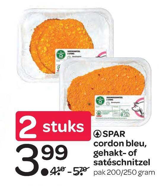 Spar Spar Cordon Bleu, Gehakt- Of Satéschnitzel