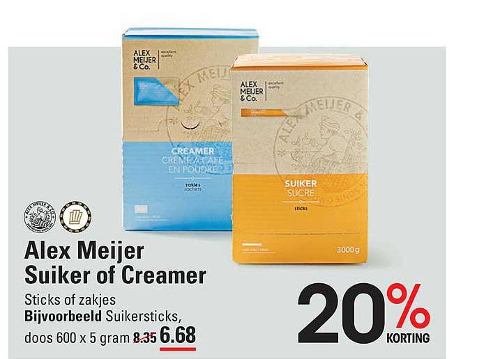 De Kweker Alex Meijer Suiker Of Creamer 20% Korting