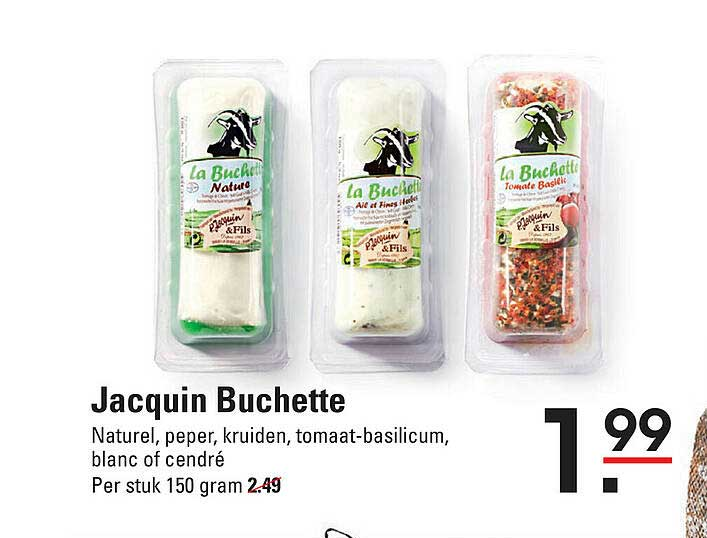 De Kweker Jacquin Buchette Naturel, Peper, Kruiden, Tomaat-Basilicum, Blanc Of Cendré