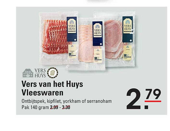 De Kweker Vers Van Het Huys Vleeswaren Ontbijtspek, Kipfilet, Yorkham Of Serranoham