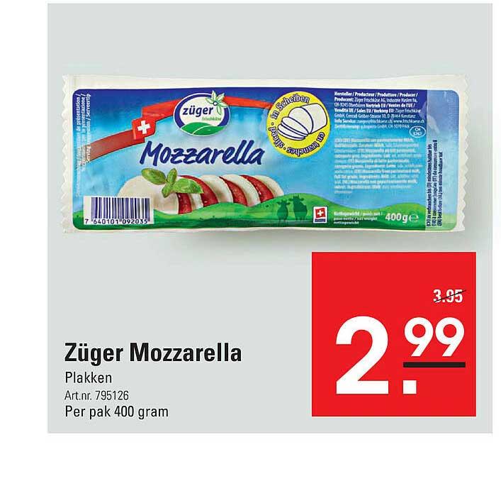 De Kweker Züger Mozzarella