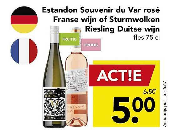 DEEN Estandon Souvenir Du Var Rosé Franse Wijn Of Sturmwolken Riesling Duitse Wijn