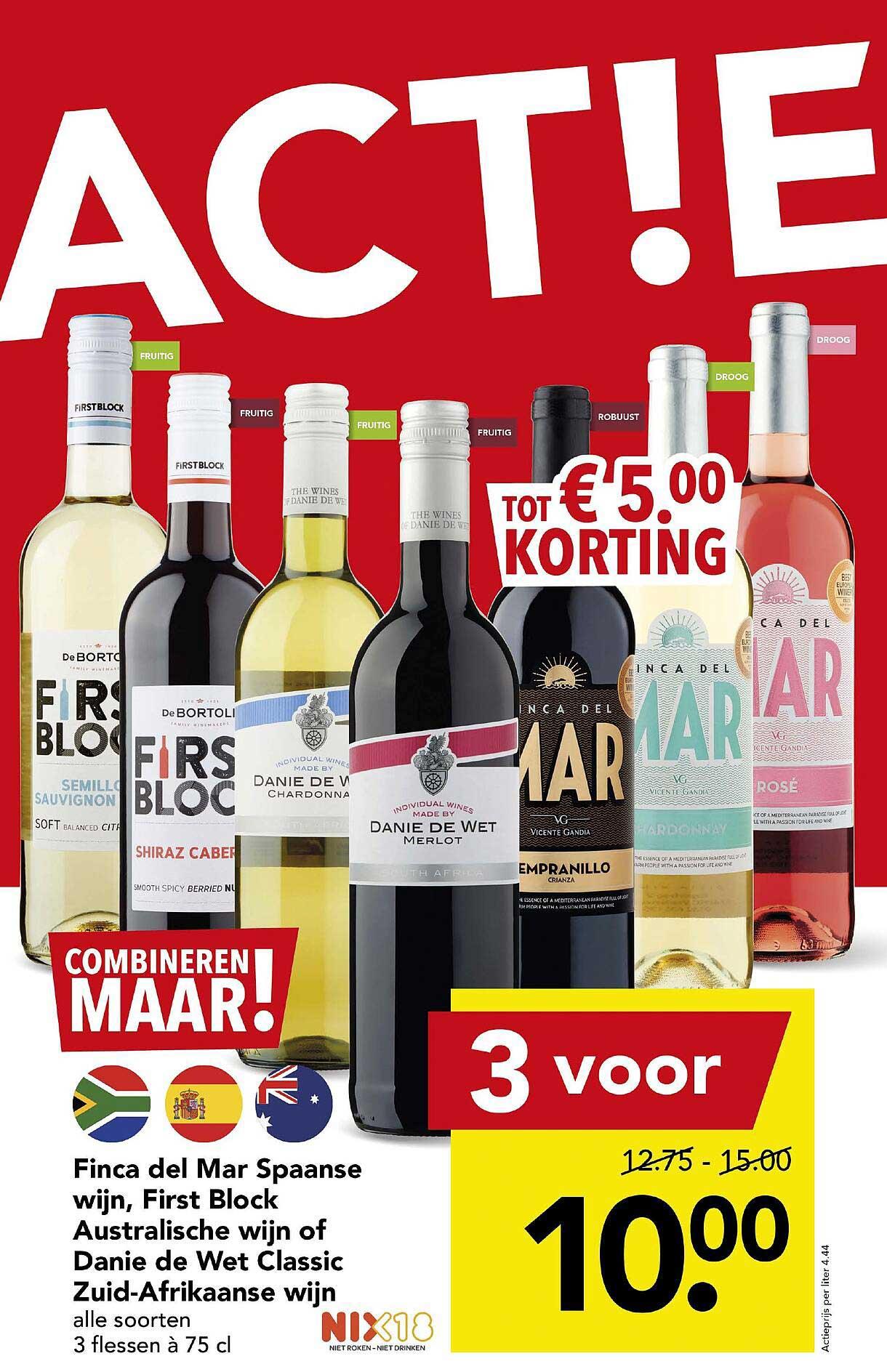 DEEN Finca Del Mar Spaanse Wijn, First Block Australische Wijn Of Danie De Wet Classic Zuid-Afrikaanse Wijn