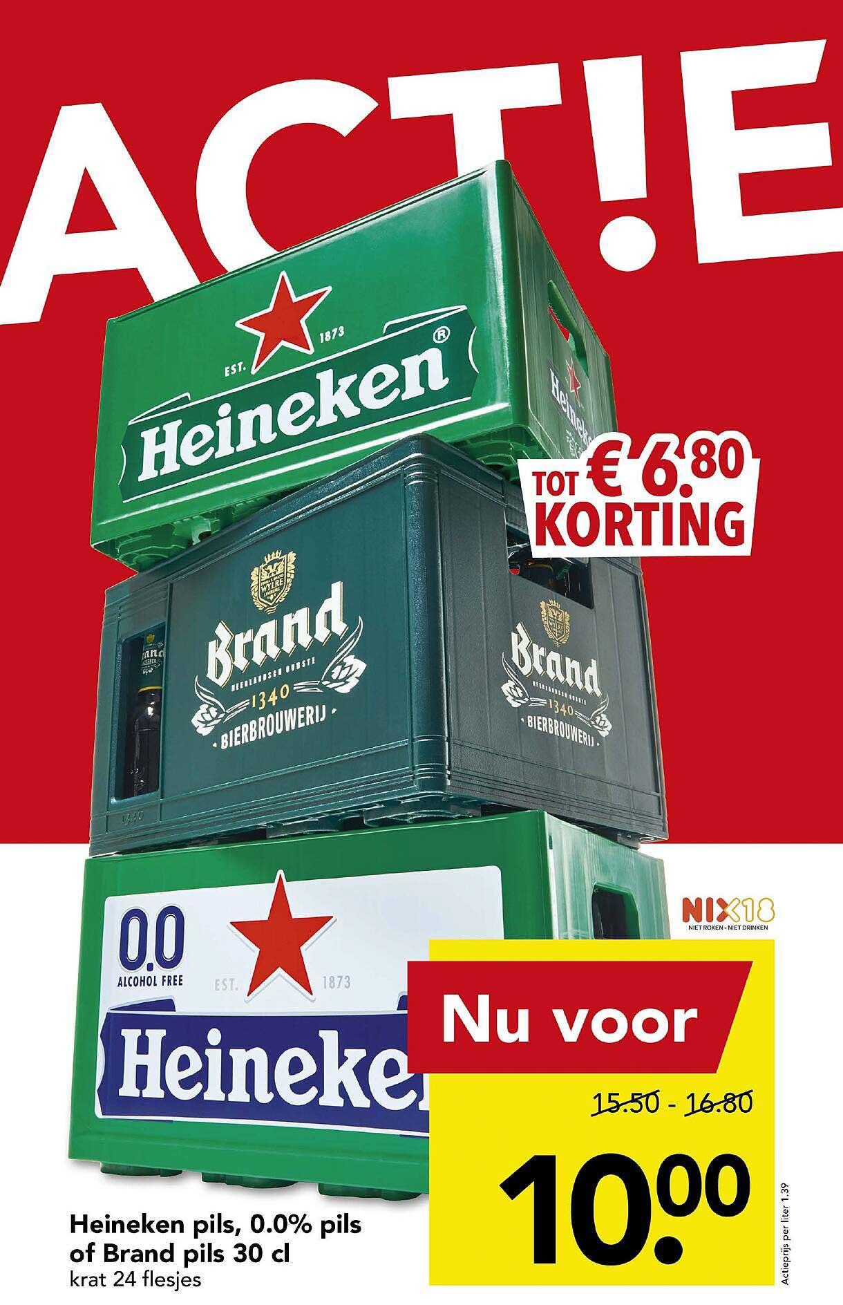 DEEN Heineken Pils, 0.0% Pils Of Brand Pils 30 Cl Tot € 6.80 Korting