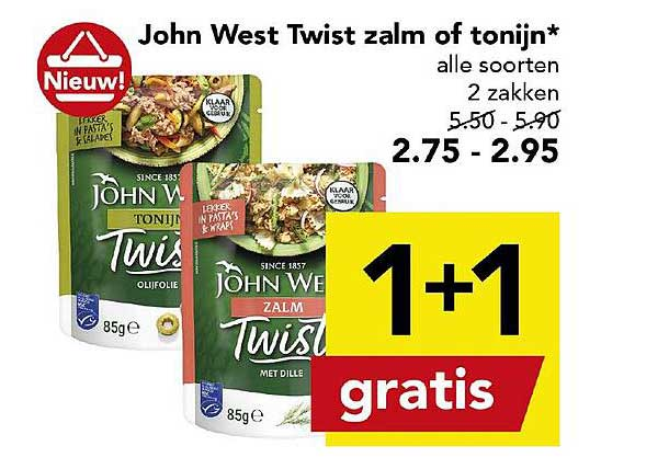 DEEN John West Twist Zalm Of Tonijn 1+1 Gratis