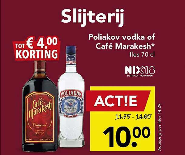 DEEN Poliakov Vodka Of Café Marakesh Tot € 4.00 Korting