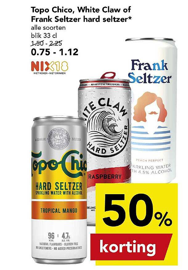 DEEN Topo Chico, White Claw Of Frank Seltzer Hard Seltzer 50% Korting
