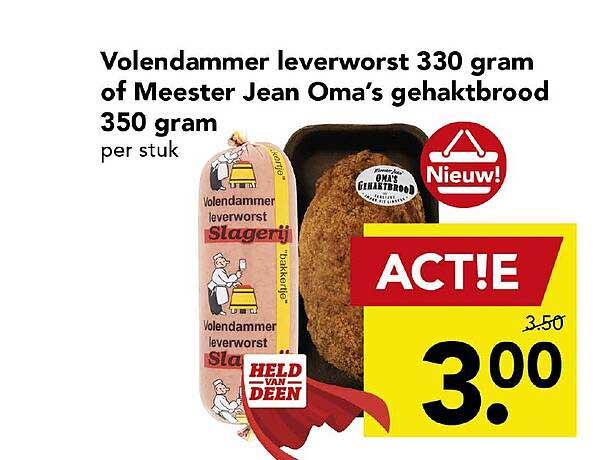 DEEN Volendammer Leverworst 330 Gram Of Meester Jean Oma's Gehaktbrood 350 Gram