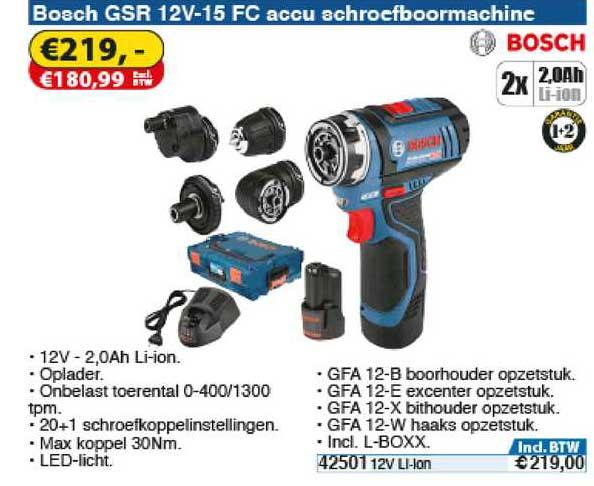 Toolstation Bosch GSR 12V-15 FC Accu Schroefboormachine