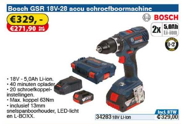 Toolstation Bosch GSR 18V-28 Accu Schroefboormachine