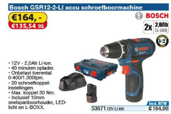 Toolstation Bosch GSR12-2-LI Accu Achroefboormachine