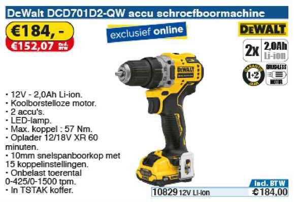 Toolstation DeWalt DCD701D2-QW Accu Schroefboormachine