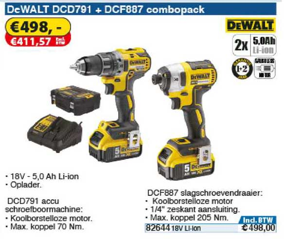 Toolstation DeWalt DCD791 + DCF887 Combopack : Accu Schroefklopboormachine Of Slagschroevendraaier