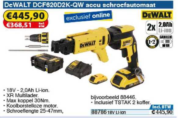 Toolstation DeWalt DCF620D2K-QW Accu Schroefautomaat