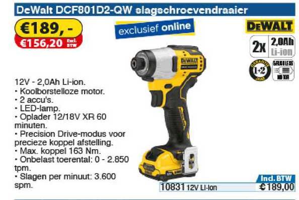 Toolstation DeWalt DCF801D2-QW Slagschroevendraaier