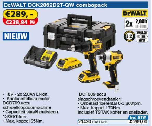 Toolstation DeWalt DCK2062D2T-QW Combopack : Accu Schroefklopboormachine Of Accu Slagschroevendraaier