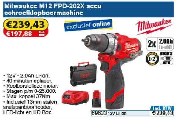 Toolstation Milwaukee M12 FPD-202X Accu Schroefklopboormachine