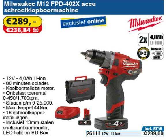 Toolstation Milwaukee M12 FPD-402X Accu Schroefklopboormachine