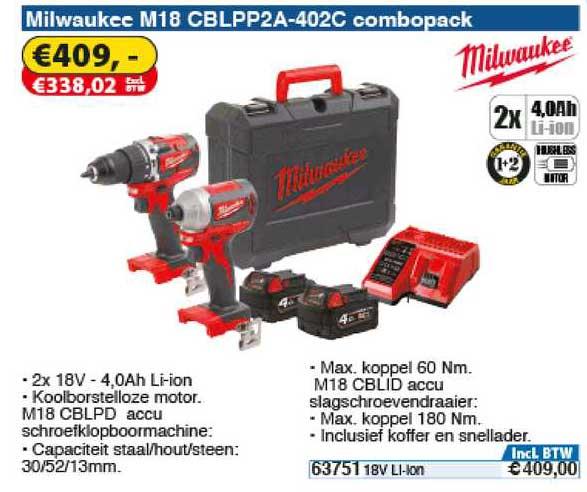 Toolstation Milwaukee M18 CBLPP2A-402C Combopack : Accu Schroefklopboormachine Of Accu Slagschroevendraaier