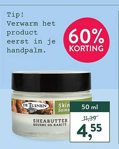 Holland & Barrett De Tuinen Sheabutter 60% Korting