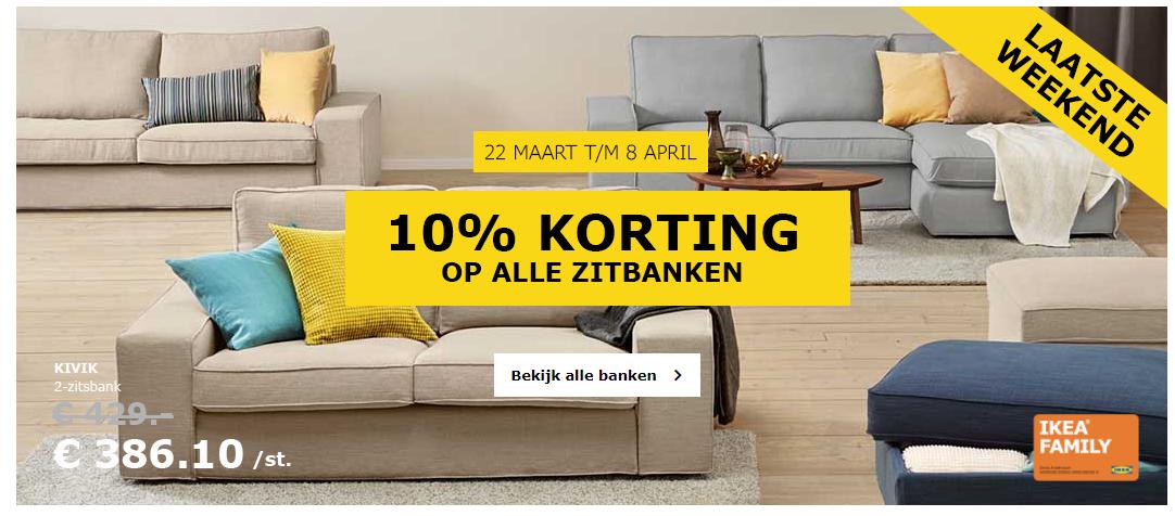 IKEA 10% Korting Op Alle Zitbanken