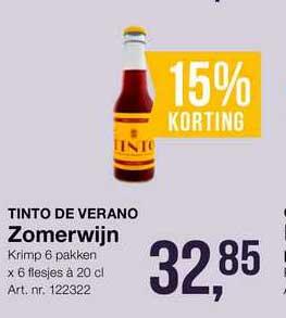 Bidfood Tinto De Verano Zomerwijn 15% Korting