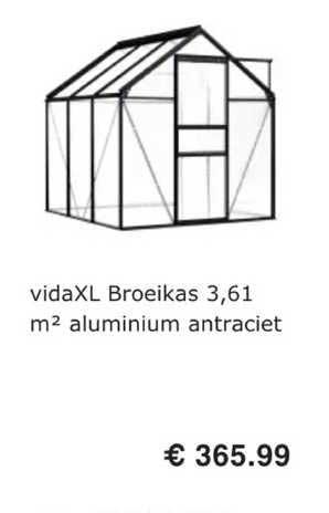 VidaXL VidaXL Broeikas 3.61 M² Aluminium Antraciet