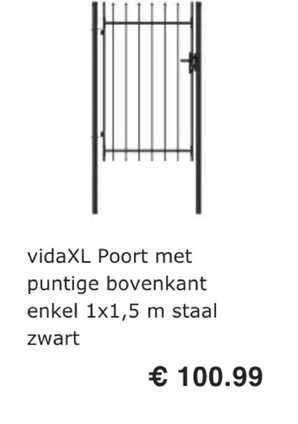 VidaXL VidaXL Poort Met Puntige Bovenkant Enkel 1x1.5 M Staal