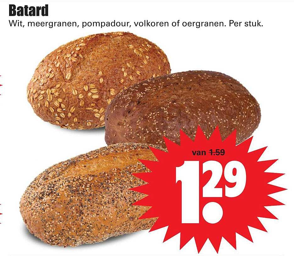 Dirk Batard Wit, Meergranen, Pompadour, Volkoren Of Oergranen