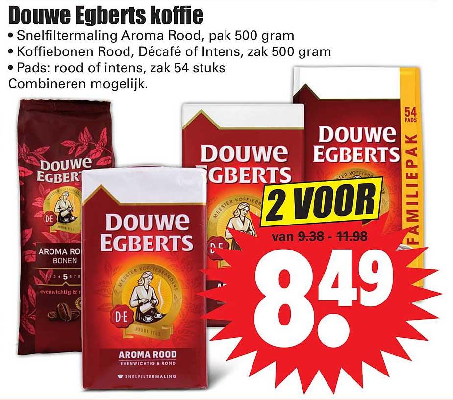 Dirk Douwe Egberts Koffie Snelfiltermaling Aroma Rood, Koffiebonen Rood, Décafé Of Intens