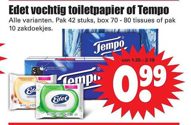 Dirk Edet Vochtig Toiletpapier Of Tempo