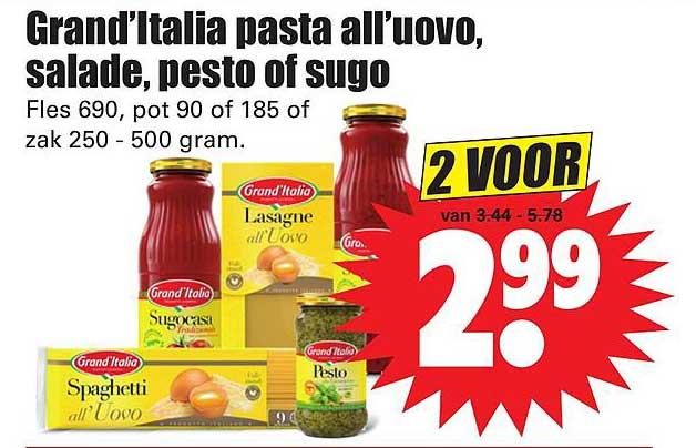 Dirk Grand'Italia Pasta All'Uovo, Salade, Pesto Of Sugo