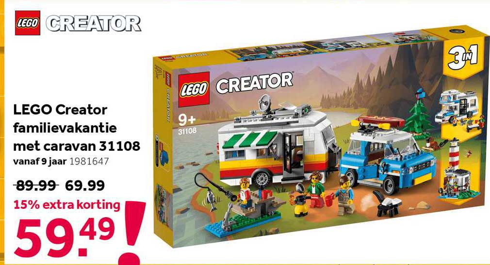 Intertoys Lego Creator Familievakantie Met Caravan 31108 15% Extra Korting
