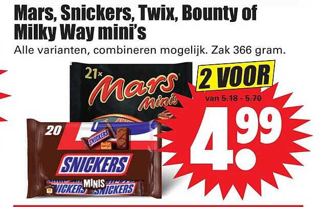 Dirk Mars, Snickers, Twix, Bounty Of Milky Way Mini's