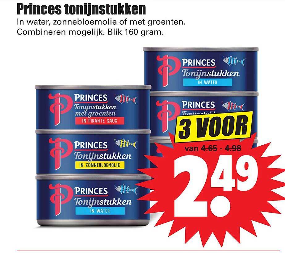 Dirk Princes Tonijnstukken In Water, Zonnebloemolie Of Met Groenten
