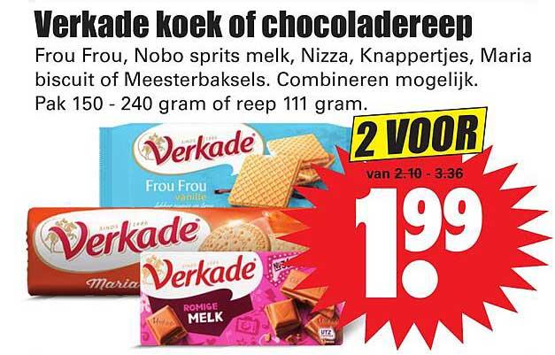 Dirk Verkade Koek Of Chocoladereep Frou Frou, Nobo Sprits Melk, Nizza, Knappertjes, Maria Biscuit Of Meesterbaksels