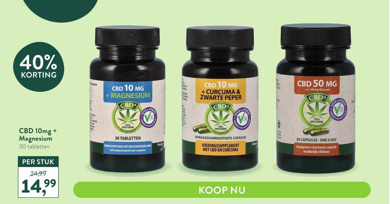 Holland & Barrett CBD 10mg+ Magnesium 40% Korting