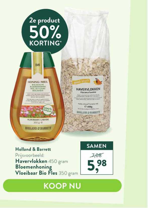 Holland & Barrett Holland & Barrett Havervlokken, Bloemenhoning Vloeibaar Bio Fles 50% Korting
