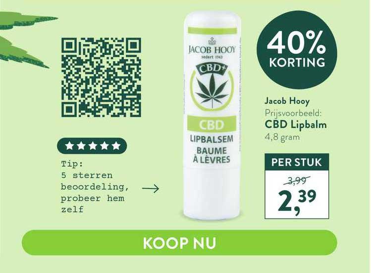 Holland & Barrett Jacob Hooy CBD Lipbalm 40% Korting