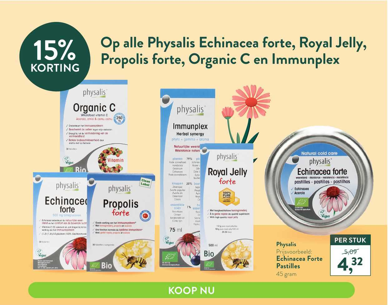 Holland & Barrett Op Alle Physalis Echinacea Forte, Royal Jelly, Propolis Forte, Organic C En Immunplex 15% Korting