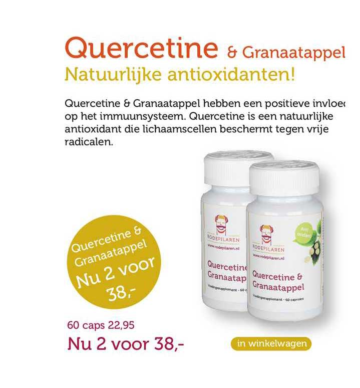 Rode Pilaren Quercetine & Granaatappel Natuurlijke Antioxidanten!
