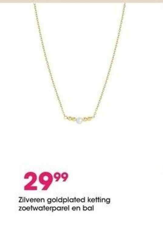Lucardi Zilveren Goldplated Ketting Zoetwaterparel En Bal