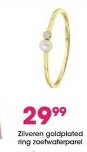 Lucardi Zilveren Goldplated Ring Zoetwaterparel